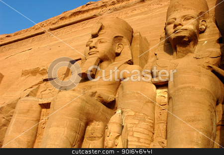 Ramses II statues at Abu Simbel in Egypt stock photo, Landmark of the famous Ramses II statues at Abu Simbel in Egypt by John Young
