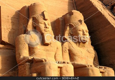 Ramses II statues at Abu Simbel in Egypt stock photo, Landmark of the famous Ramses II statues at Abu Simbel in Egypt by John Young
