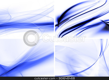 Set wavy background stock photo, Set wavy blue abstract backgrounds by Imaster