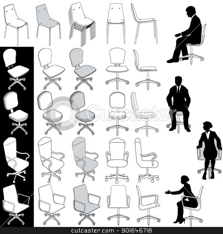 Office business chairs furniture drawings set stock vector clipart, Collection of 5 types of business office chairs for architecture technical and other drawings  by Michael Brown