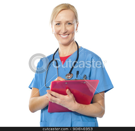Experienced female doctor smiling at camera stock photo, Experienced female doctor holding reports and smiling at camera by Ishay Botbol
