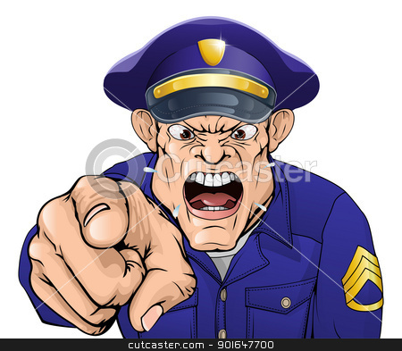 Angry policeman stock vector clipart, Illustration of a cartoon angry policeman cop or security guard shouting at the viewer by Christos Georghiou