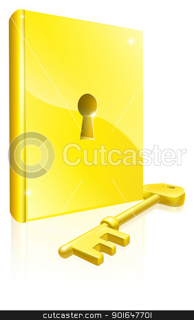 Gold locked book key concept stock vector clipart, Conceptual illustration of a golden book with lock and key. Could be a concept for access to education, training, literature or learning  by Christos Georghiou