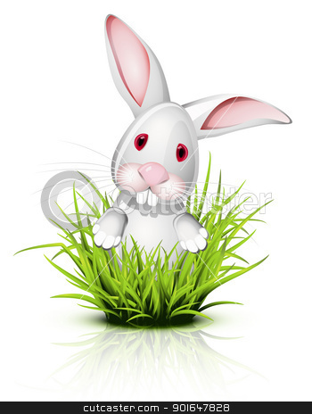 Little rabbit on grass stock vector clipart, Little white rabbit  on reflective grass by Laurent Renault