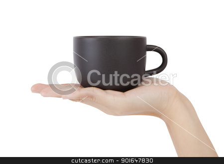 Cup in hand, isolated on white background . stock photo, Cup in hand, isolated on white background . by thepoo