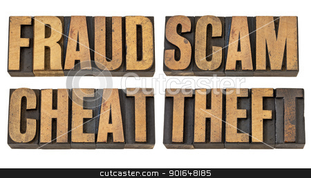 fraud, scam, cheat and theft stock photo, fraud, scam, cheat and theft - crime related isolated words in vintage letterpress wood type by Marek Uliasz