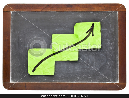 growth concept on blackboard stock photo, growth concept - sticky notes on vintage slate  blackboard isolated on white by Marek Uliasz