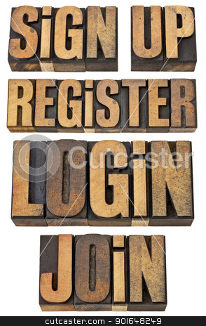 login, register, join, sign up stock photo, login, register, join, sign up - internet and networoking terms - a collage of isolated words in vintage letterpress wood type by Marek Uliasz