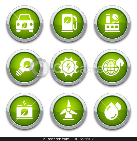 Green ecology buttons stock vector clipart, Green shiny environmental buttons for design by artizarus