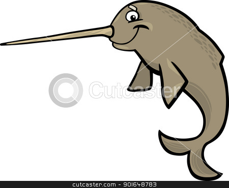 cartoon narwhal stock vector clipart, cartoon illustration of narwhal isolated on white by Igor Zakowski