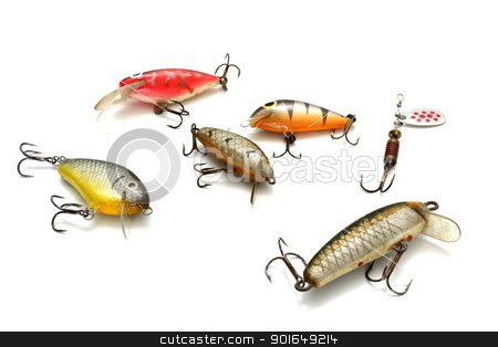 trout lures stock photo, collection of small fishing lures over white background by coroiu octavian
