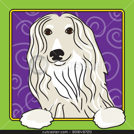 Afghan Cartoon stock vector clipart, A cartoon image of an Afghan hound, created in the folk art tradition. by Maria Bell