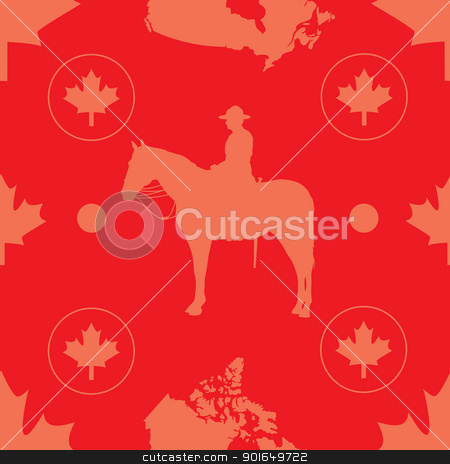 Canada Seamless stock vector clipart, A seamless pattern comprised of images evocative of Canada, set on a red background. by Maria Bell