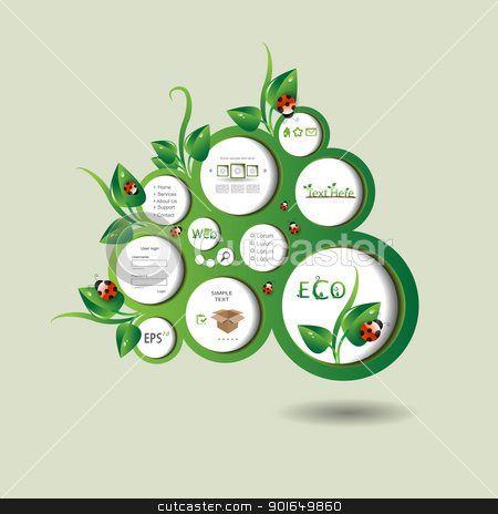 Eco vector blog stock vector clipart, Eco green vector blog with leaf by naturartist