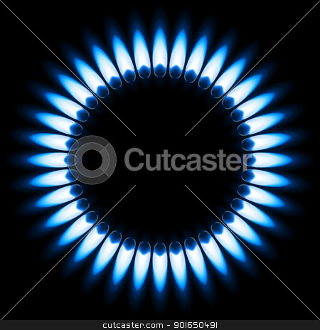 Gas Flame stock photo, Blue Gas Flame. Illustration on black background by dvarg