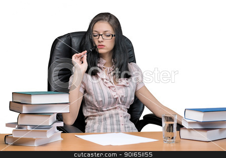 Lady-boss in office stock photo, Young businesswoman sitting on chair in office by Aikon
