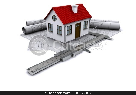 Composition of construction drawings, models at home with red roof and calipers stock photo, Composition of construction drawings, models at home with red roof and calipers. 3D rendering by cherezoff