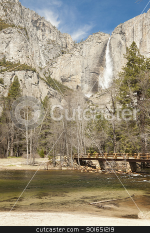 Upper Falls and Merced River at Yosemite stock photo, Upper Falls and Merced River at Yosemite on a Spring Day. by Andy Dean