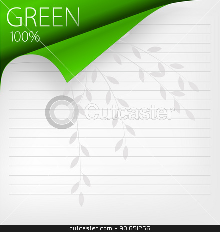 Green corner stock vector clipart, Vector paper corner by vtorous