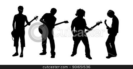 guitar players stock vector clipart, black silhouettes of four young guitar players by Robert Remen