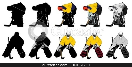 goal keeper stock vector clipart, two types of goal keeper, different shading,  by Robert Remen