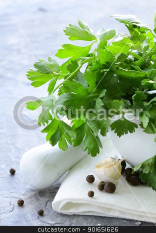 green parsley in a mortar with garlic and pepper stock photo, green parsley in a mortar with garlic and pepper by Olga Kriger