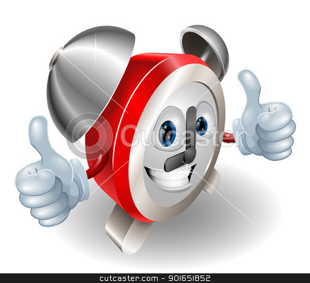 clock character 2012 C5 [Converted] stock vector clipart, Alarm clock character mascot giving a double thumbs up by Christos Georghiou