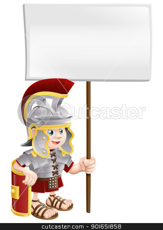 Cute Roman soldier holding sign board stock vector clipart, Illustration of a cute Roman soldier holding a sign board by Christos Georghiou