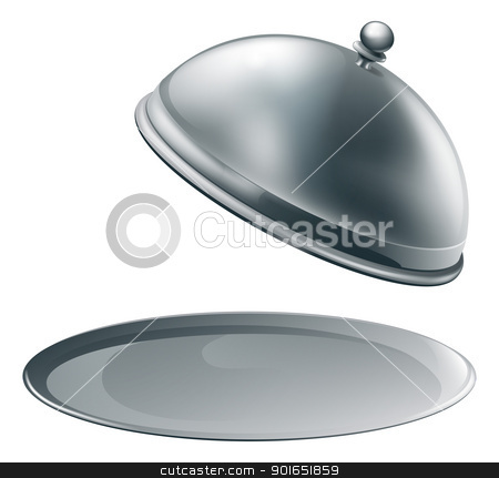 Open silver platter stock vector clipart, An open empty metal silver platter or cloche with space to place object or text on it by Christos Georghiou
