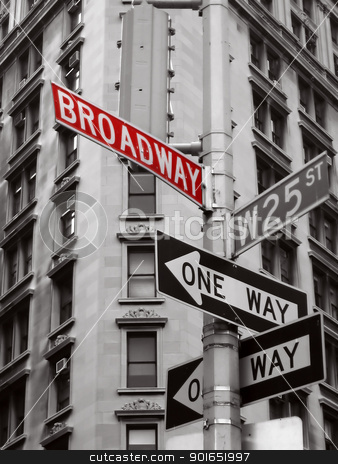 broadway sign stock photo, red broadway sign in a black and white photo of new york city signs by Robert Remen