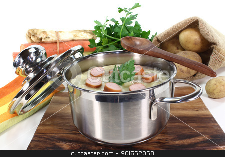 Potato soup stock photo, Potato soup with Wiener sausage, greens and parsley by Marén Wischnewski