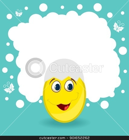 Easter card with egg character stock vector clipart, Illustration Easter card with egg character - vector by -=Mad Dog=-