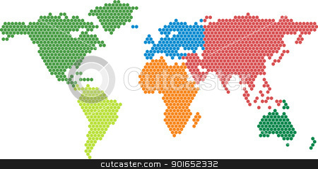 Vector world map stock vector clipart, Vector world map with colored continents by vtorous