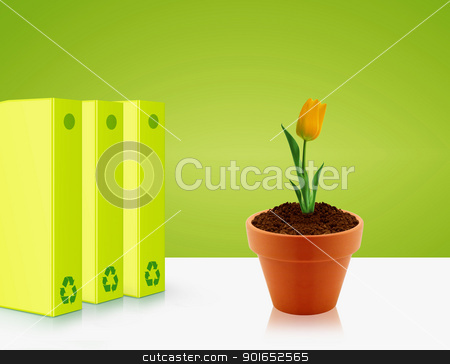 Ecological awareness concept stock photo, Green folders and yellow tulip, Ecological awareness concept by Designsstock