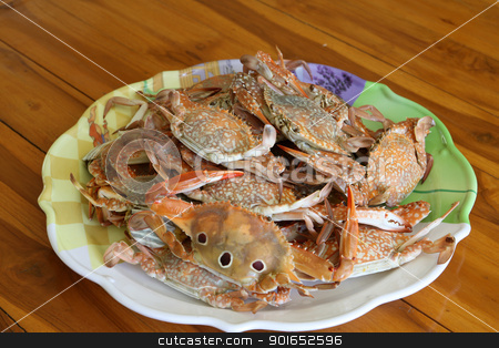 steamed crab in dish stock photo, steamed crab in dish by kamonrat