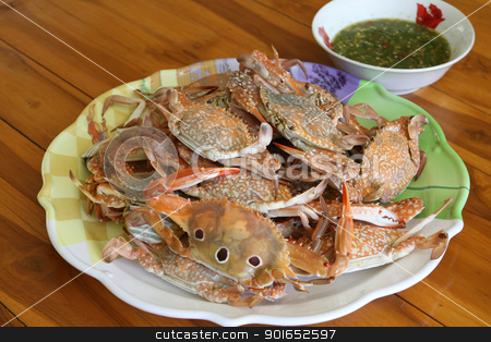 steamed crab in dish white seafood sauce stock photo, steamed crab in dish white seafood sauce by kamonrat
