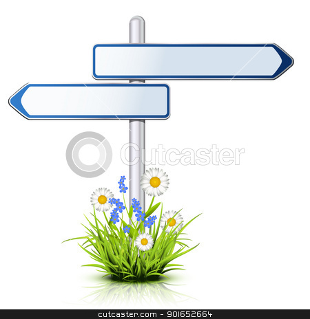 Roadsign with empty direction arrows stock vector clipart, Roadsign with empty direction arrows in nature by Laurent Renault