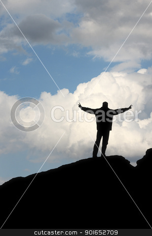 silhouette of a man in front of the blue sky stock photo, A silhouette of a man in front of the blue sky making a winner pose by Markus Gann