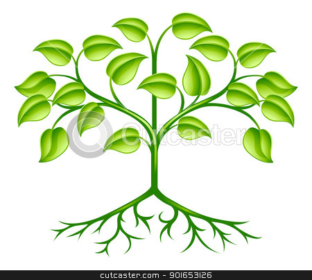 Stylised tree design stock vector clipart, A green stylised tree design element symbolising growth, nature or the environment  by Christos Georghiou