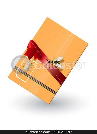 Phone card  stock vector clipart, Gift wrapped phone card and a wasp. Transparency and gradient mesh effect used. by Richard Laschon