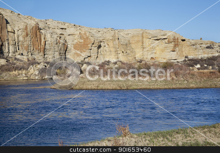 North Platte River in Wyoming stock photo, North Platte River in high desert landscape north of Saratoga, Wyoming, early spring by Marek Uliasz