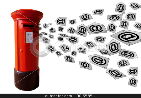 3D E-Mail Post Box stock photo, 3D E-Mail Red Post Box with Flying Envelope Messages by Snap2Art