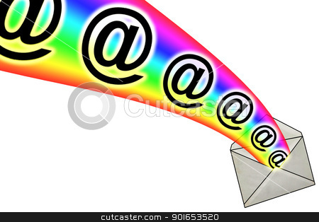 3D E-Mail Signs from Envelope stock photo, 3D E-Mail Signs in Rainbow from Envelope by Snap2Art