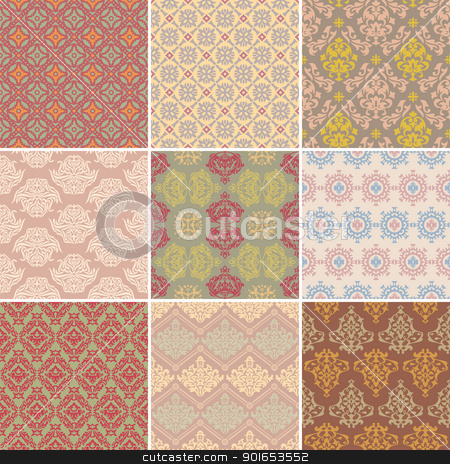set of seamless retro background stock vector clipart, set of seamless retro background vector illustration by SelenaMay