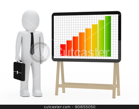 businessman signboard graph stock photo, businessman with briefcase stand next signboard by d3images