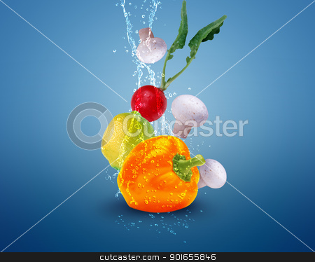 Fresh vegetables stock photo, Fresh vegetables with water splashes on blue background. by Designsstock