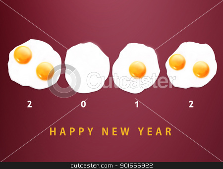 Happy new year 2012 stock photo, Happy new year 2012, conceptual images Fried eggs creating 2012 year number. by Designsstock