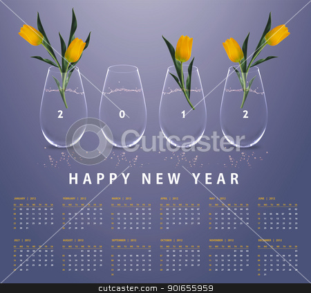 New year 2012 Calendar stock photo, New year 2012 Calendar with conceptual image of yellow tulips in glass vases. by Designsstock