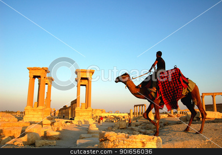 Relics of Palmyra in Syria stock photo, Relics Palmyra in Syria against blue sky. Ancient Roman time town in Palmyra (Tadmor), Syria. by John Young