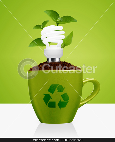 modern energy saving stock photo, modern energy-saving concept,  bright bulb, green mug, green leaves and recycle sign. by Designsstock
